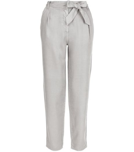 Grey Tie Waist Trousers  | New Look