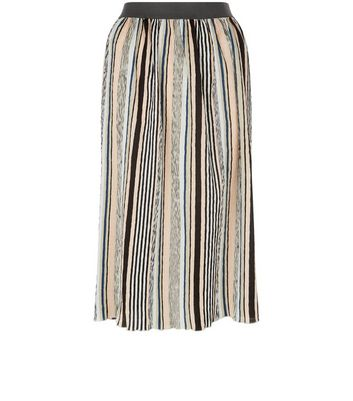 Black Stripe Elasticated Waist Midi Skirt