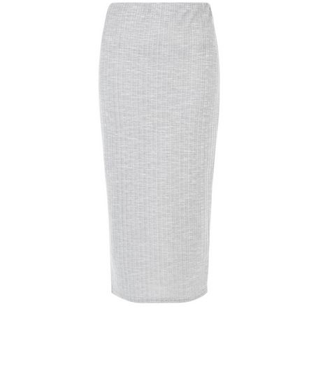 Grey Marl Ribbed Midi Skirt  | New Look