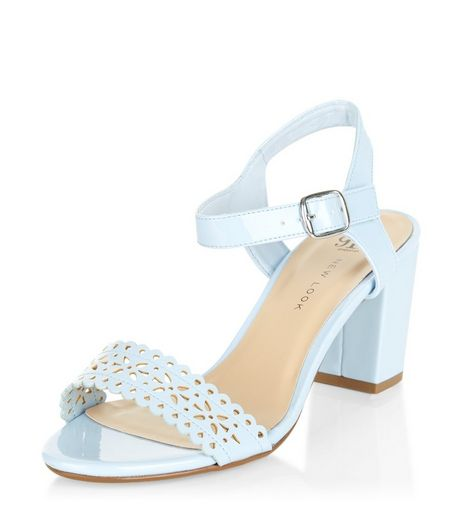 Teens Blue Laser Cut Out Block Heels | New Look