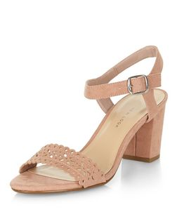 Teens Cream Laser Cut Out Block Heels | New Look