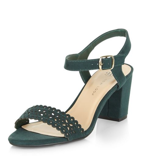 Teens Green Laser Cut Out Block Heels | New Look