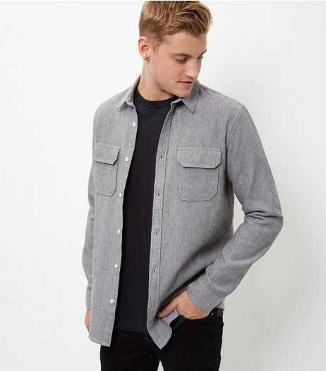 Pale Grey Cotton Double Pocket Long Sleeve Shirt  | New Look