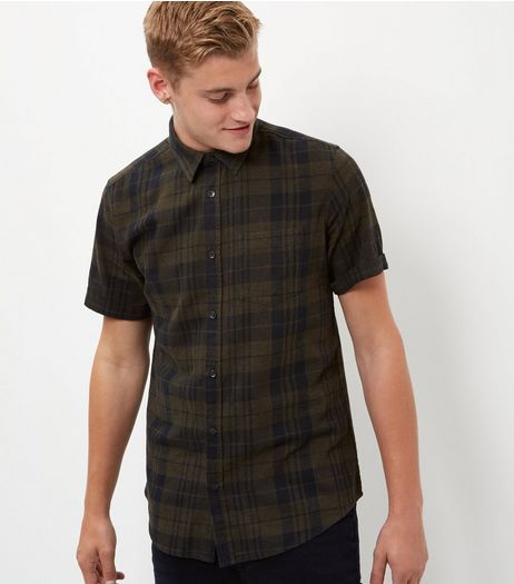 Khaki Check Short Sleeve Shirt  | New Look