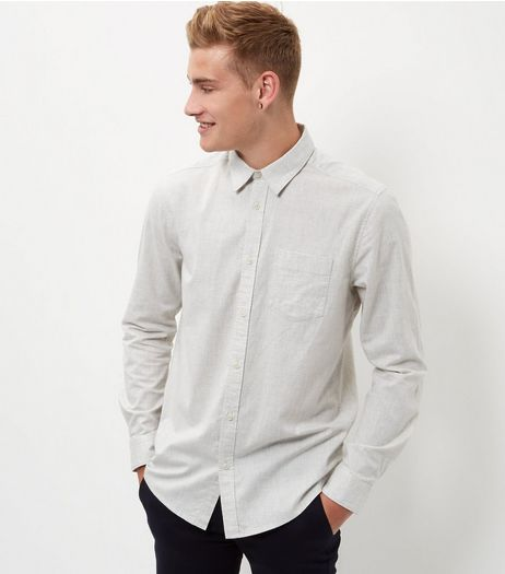Cream Single Pocket Long Sleeve Shirt  | New Look