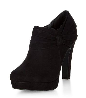 Black Comfort Suedette Bow Side Shoe Boots