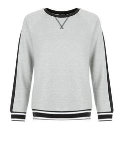 Grey Colour Block Zip Trim Sweater  | New Look