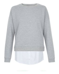 Grey 2 in 1 Shirt Sweater  | New Look