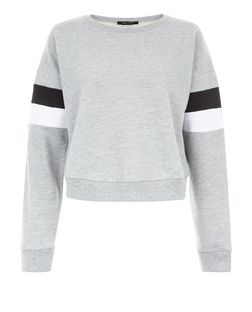 Grey Colour Block Stripe Sleeve Sweater  | New Look