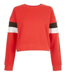 Red Colour Block Stripe Sleeve Sweater  | New Look