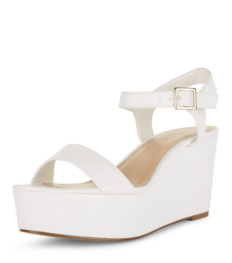 White Ankle Strap Flatform Sandals  | New Look