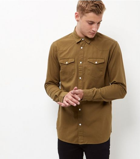 Khaki Cotton Double Pocket Long Sleeve Shirt  | New Look