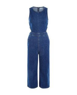 Blue Denim Cut Out Side Cropped Jumpsuit  | New Look