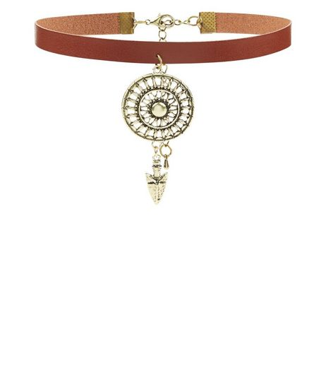 Tan Aztec Cut Out Disc Choker | New Look
