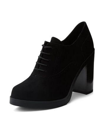 Wide Fit Black Suedette Lace Up Shoe Boots
