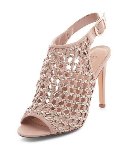 Wide Fit Pink Woven Peep Toe High Vamp Heels  | New Look