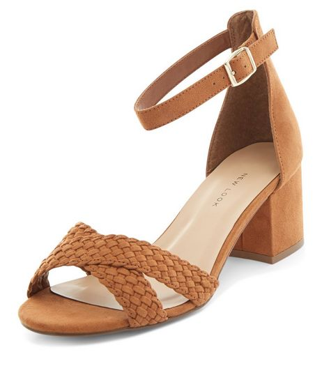 Wide Fit Tan Suedette Woven Cross Strap Heeled Sandals | New Look