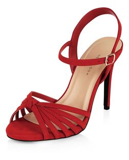 Wide Fit Red Suedette Knotted Heeled Sandals  | New Look