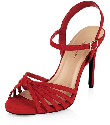 Wide Fit Red Suedette Knotted Strappy Heels  | New Look