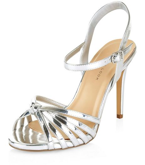 Wide Fit Silver Patent Knotted Strappy Heels  | New Look