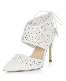 Wide Fit White Laser Cut Out Tie Back Pointed Heels  | New Look