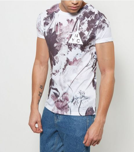 White Floral NYC Print T-Shirt | New Look