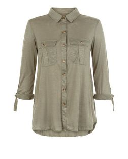 Apricot Khaki Double Pocket Roll Sleeve Shirt  | New Look