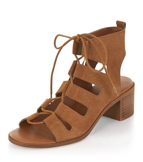 Tan Suede Ghillie Sandals  | New Look