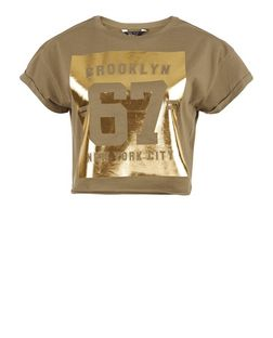 Teens Khaki Brooklyn 67 Foil Roll Sleeve Crop Top  | New Look