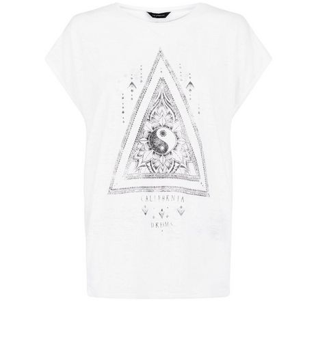 White Triangle Yin Yang Cocoon Top  | New Look
