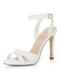 White Cross Strap Metal Trim Heeled Sandals  | New Look