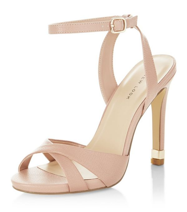 Nude Cross Strap Metal Trim Heeled Sandals
