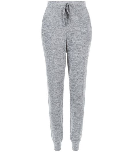 Cameo Rose Grey Space Dye Fine Knit Joggers  | New Look