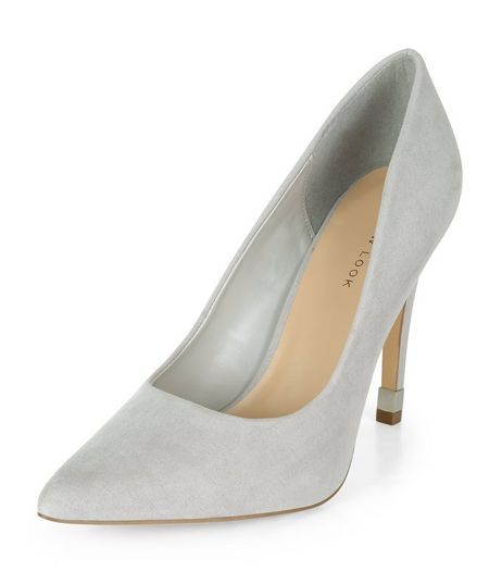 Grey Suedette Metal Trim Pointed Heels | New Look