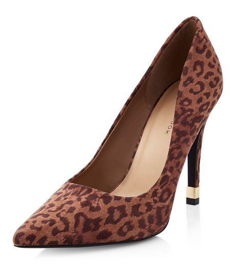 Stone Leopard Print Suedette Metal Trim Pointed Heels | New Look