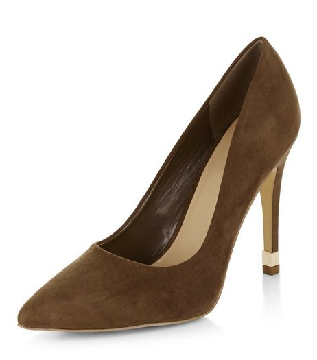 Khaki Suedette Metal Trim Pointed Heels  | New Look