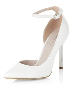 Cream Bridal Cut Out Ankle Strap Pointed Heels  | New Look