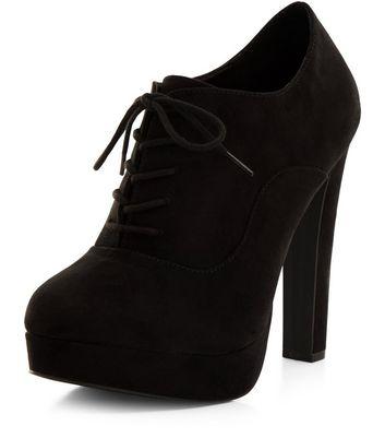 Black Suedette Lace Up Shoe Boots