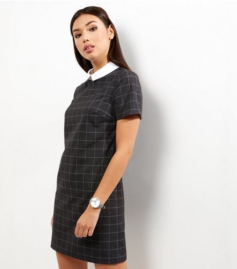 Grey Check Contrast Collar Pinafore  | New Look
