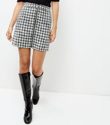 Black Gingham Check Zip Front Skirt