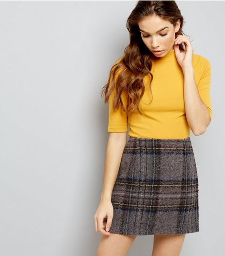 Grey Contrast Check Skirt | New Look