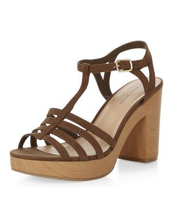 Sandalo  donna Khaki Suedette T-Bar Strappy Block Heel Sandals