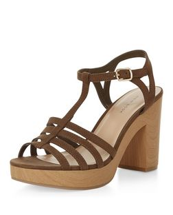 Khaki Suedette T-Bar Strappy Block Heel Sandals  | New Look