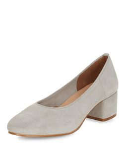 Grey Premium Suede Mid Block Heels  | New Look