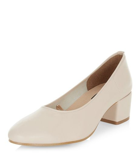 Cream Premium Leather Mid Block Heels  | New Look