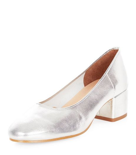 Silver Premium Leather Mid Block Heels  | New Look