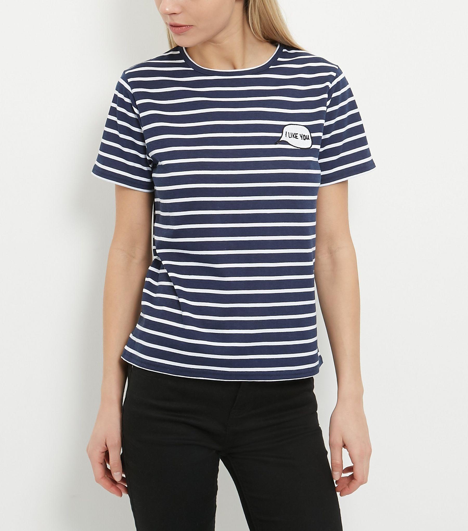 Heartbreak Navy Stripe I Like You Print T-Shirt | New Look