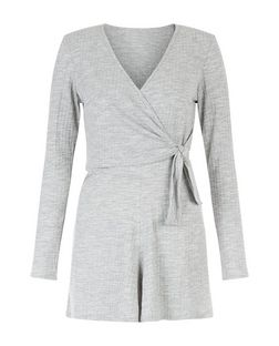Heartbreak Grey Ribbed Wrap Playsuit | New Look