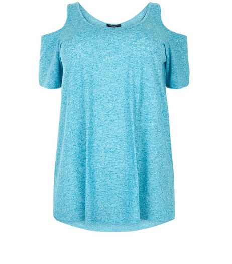 Curves Turquoise Cold Shoulder T-Shirt | New Look