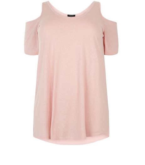 Plus Size Pink Cold Shoulder T-Shirt | New Look
